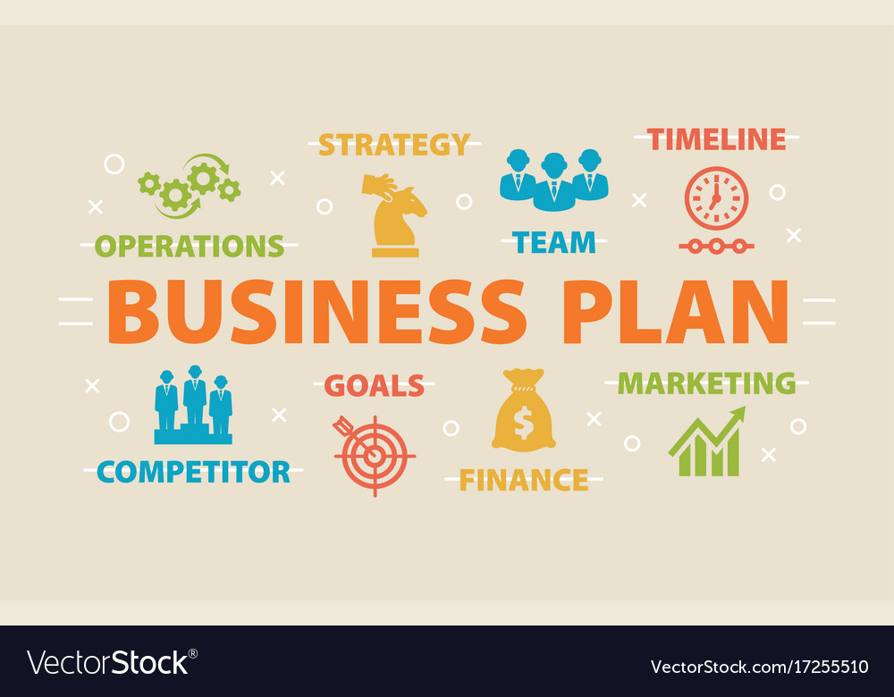 Business plan concept with icons Royalty Free Vector Image