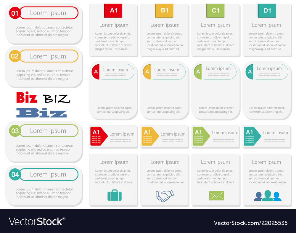 Set of assorted infographic templates Royalty Free Vector