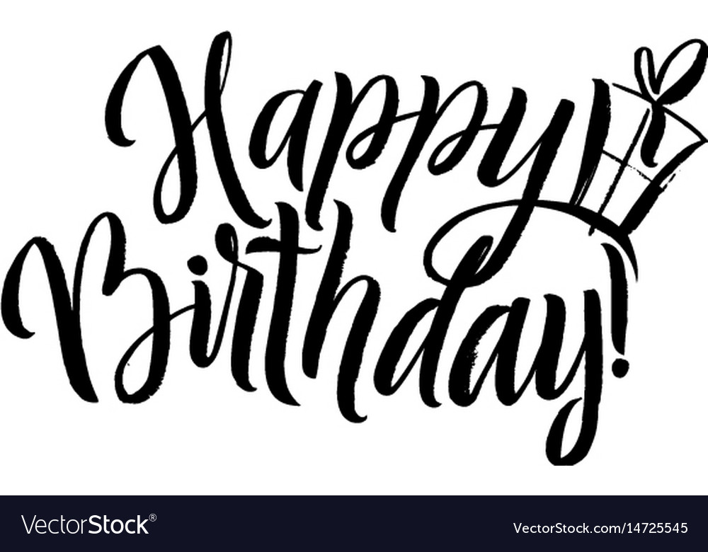 Happy birthday calligraphy greeting card with gift - greeting