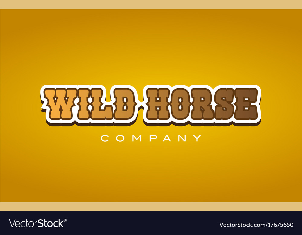 Wild horse western style word text logo design Vector Image