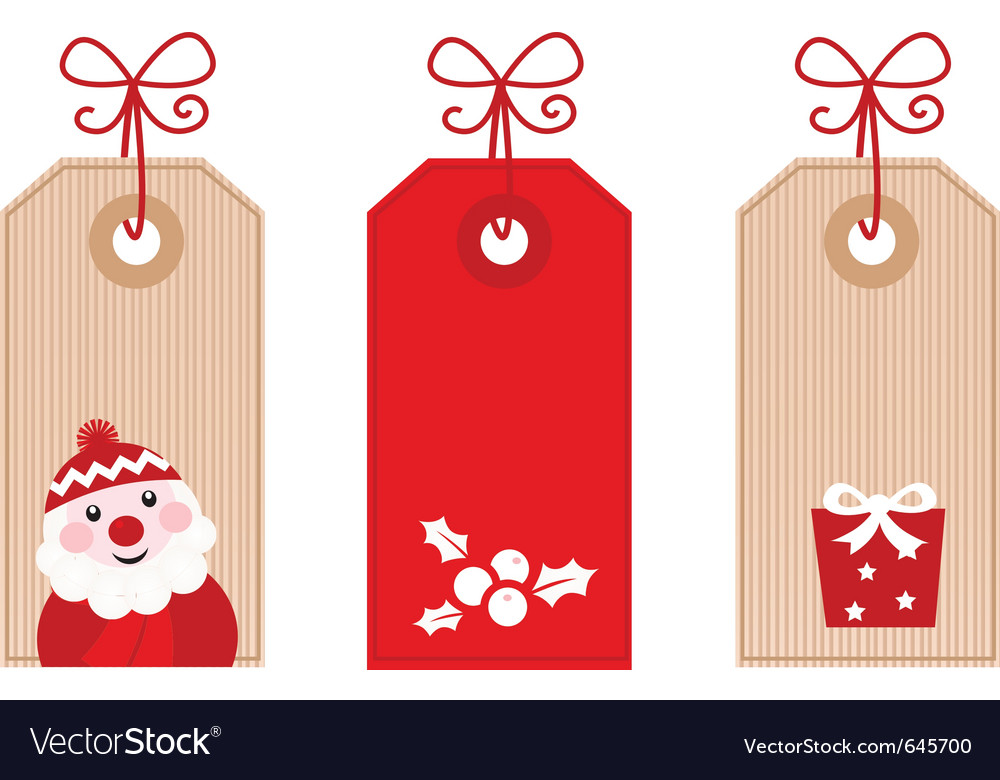 Retro christmas gift tags Royalty Free Vector Image