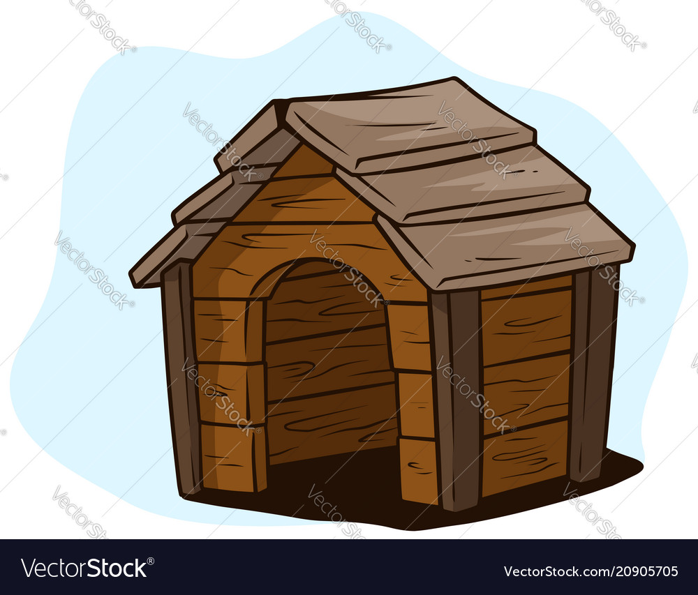 Dog House Cartoon Brown Wooden Dog House Kennel Icon