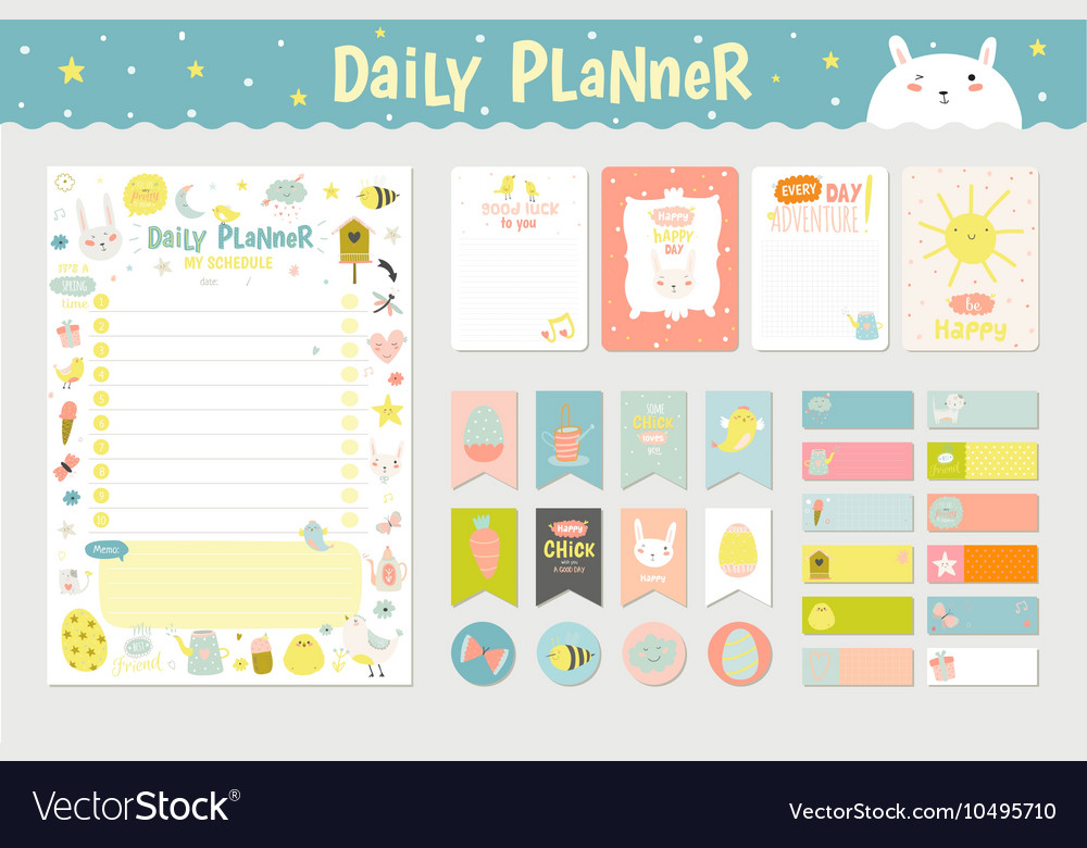 Cute Calendar Daily Planner Royalty Free Vector Image