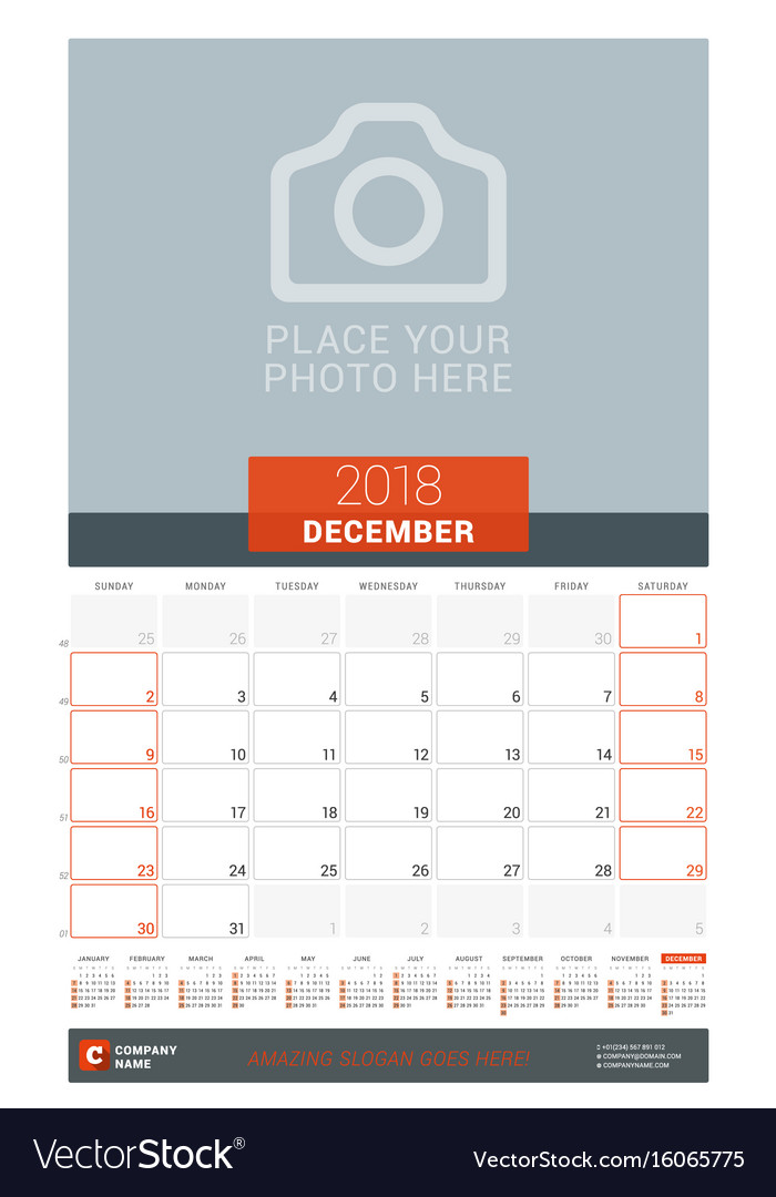 December 2018 wall monthly calendar planner for Vector Image - december monthly calender