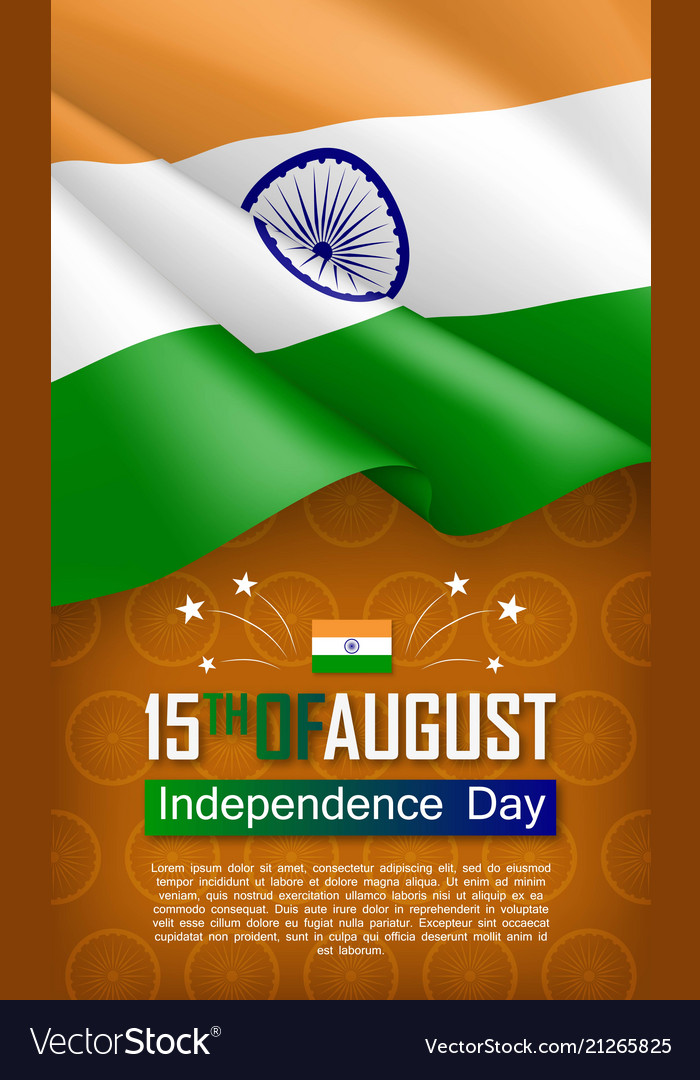 Indian independence day vertical flyer Royalty Free Vector