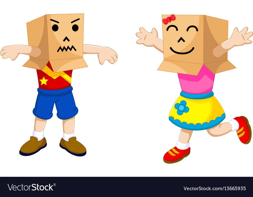 Funny children cartoon playing cardboard Vector Image - cartoon children play