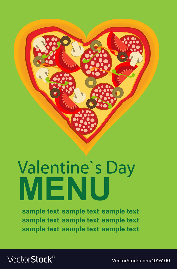 Pizza Menu Template on Valentines Day Royalty Free Vector - Sample Pizza Menu Template