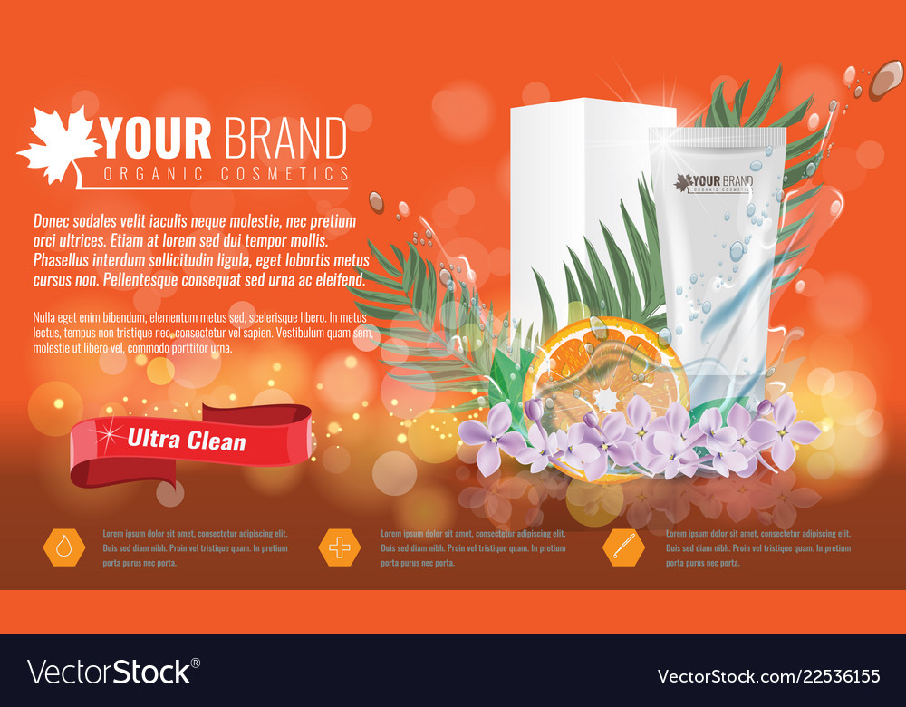 Orange cosmetics product ads poster template with Vector Image