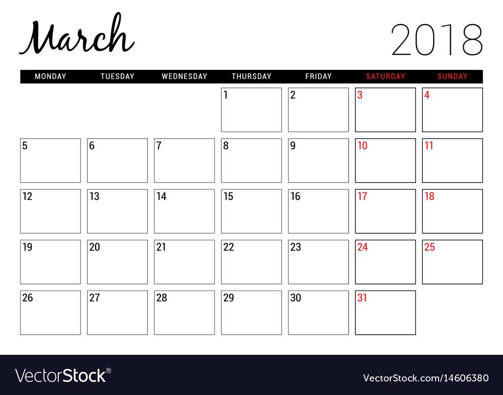 March 2018 printable calendar planner design Vector Image