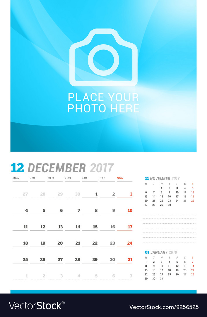 December 2017 Wall Monthly Calendar for 2017 Year Vector Image - december monthly calender