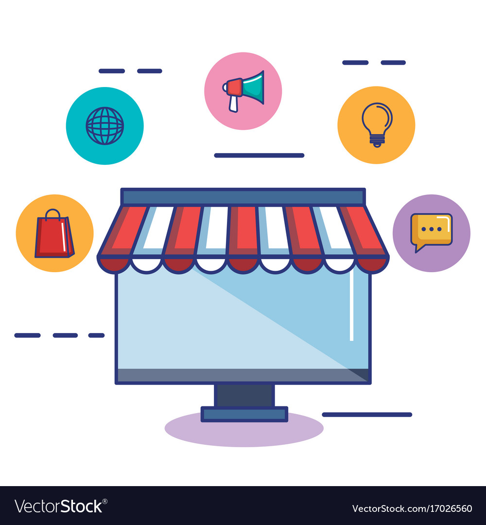 Computer Online Store Business Online Shop Computer Monitor Store Icon