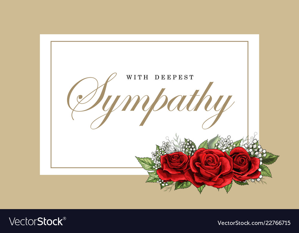 Condolences sympathy card floral red roses bouquet
