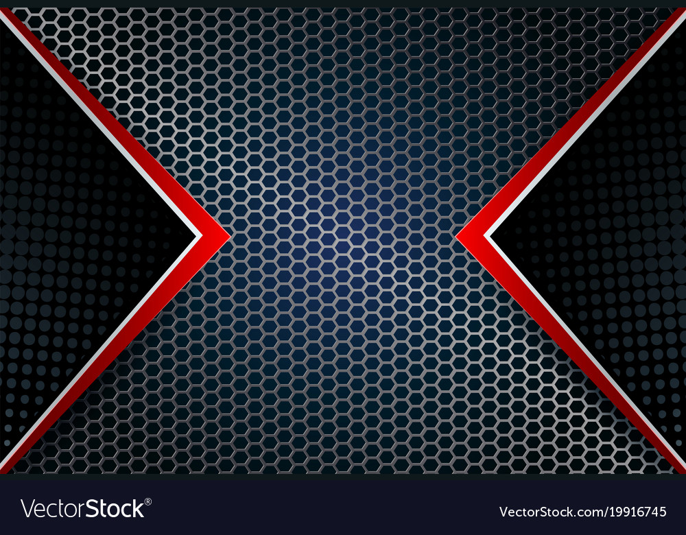 Geometric background mesh metal grille with red Vector Image