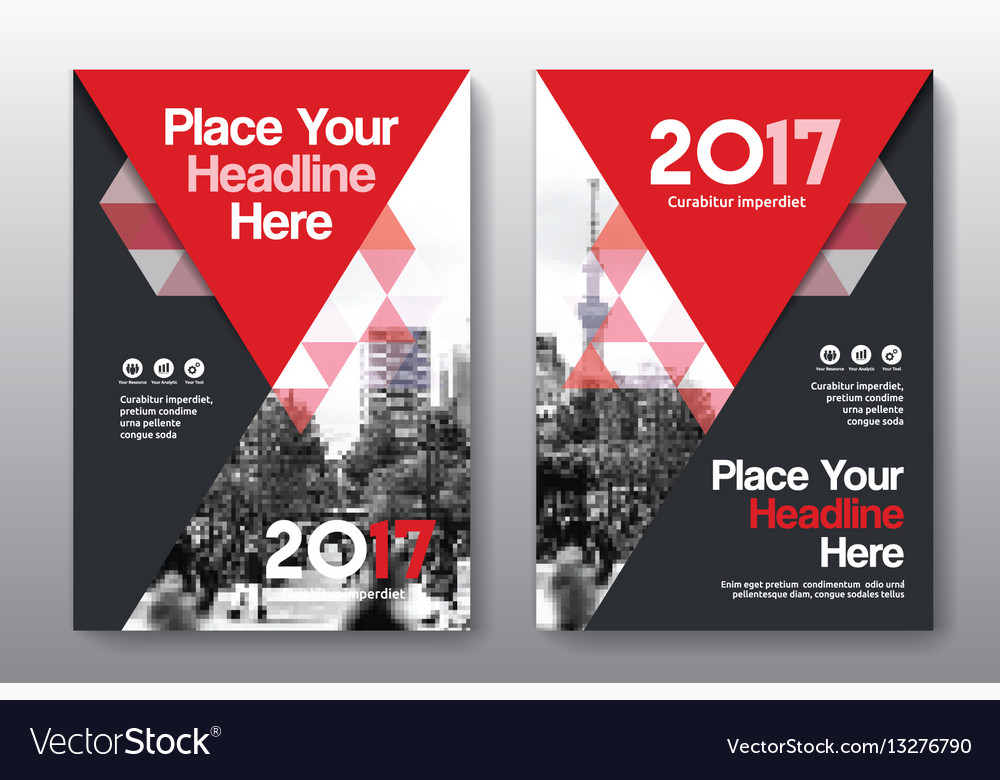 Red color scheme business book cover design Vector Image