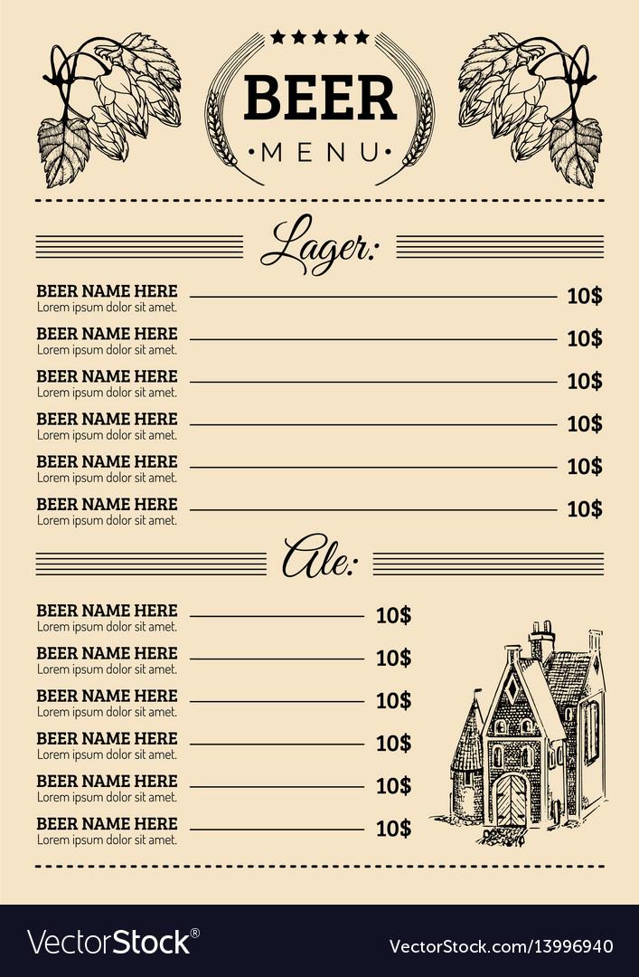Beer menu design template pub restaurant Vector Image - menu design template