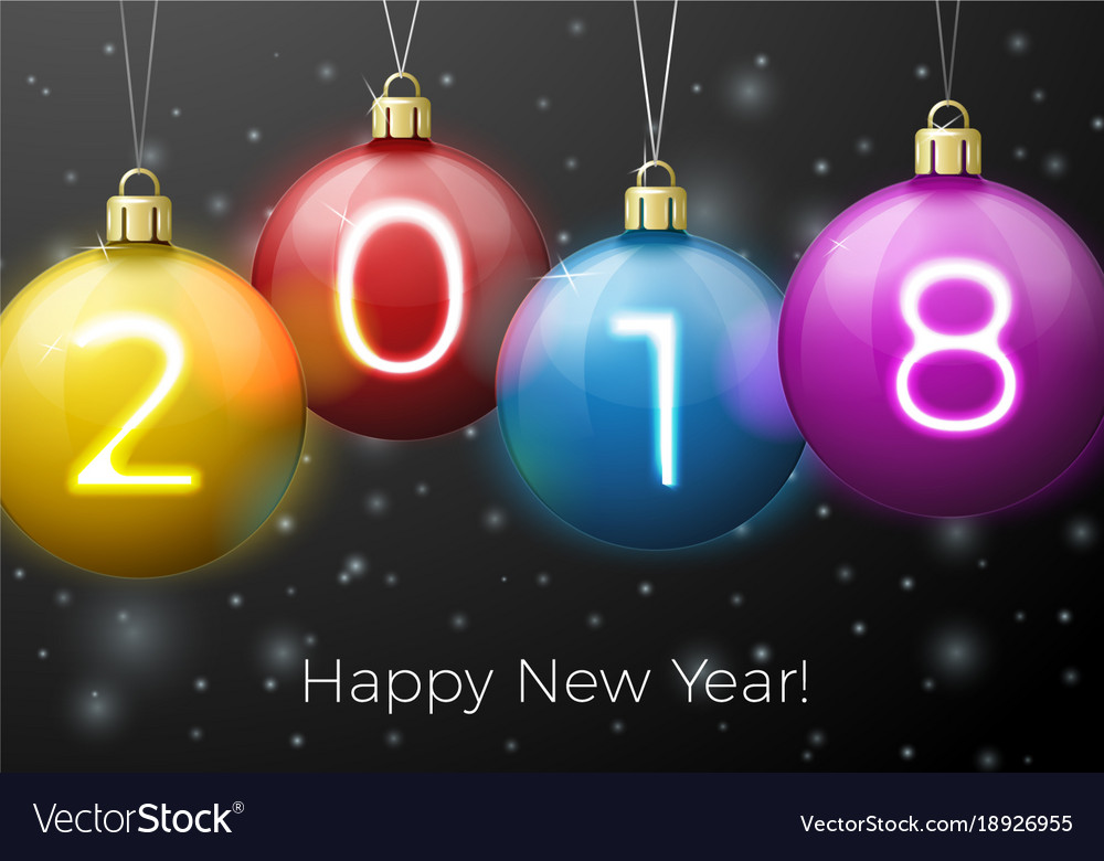 New year poster template bright balls 2018 Vector Image - new year poster template