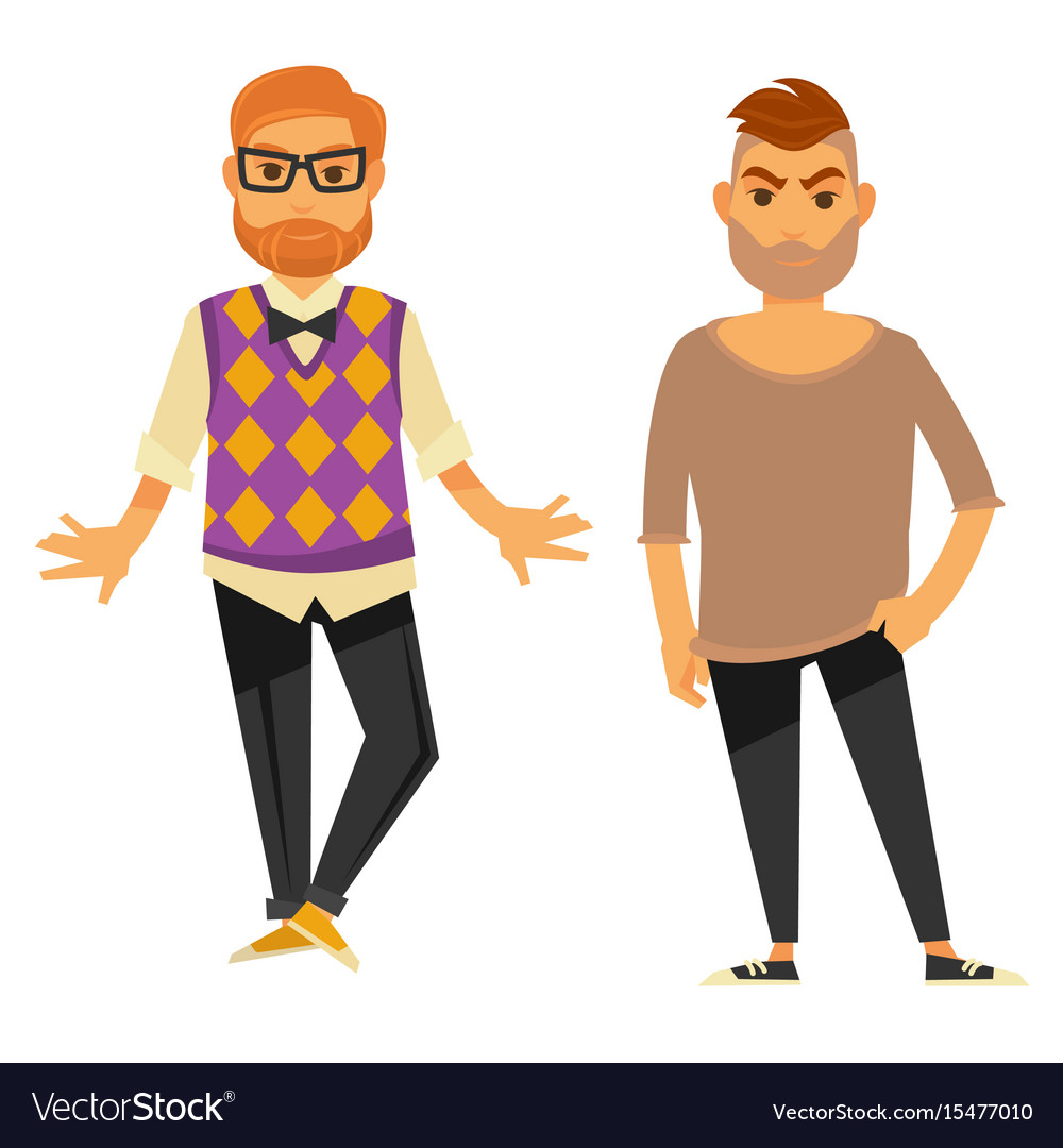 Stylish Clothes Two Stylish Young Men In Casual Clothes Isolated Vector Image On Vectorstock