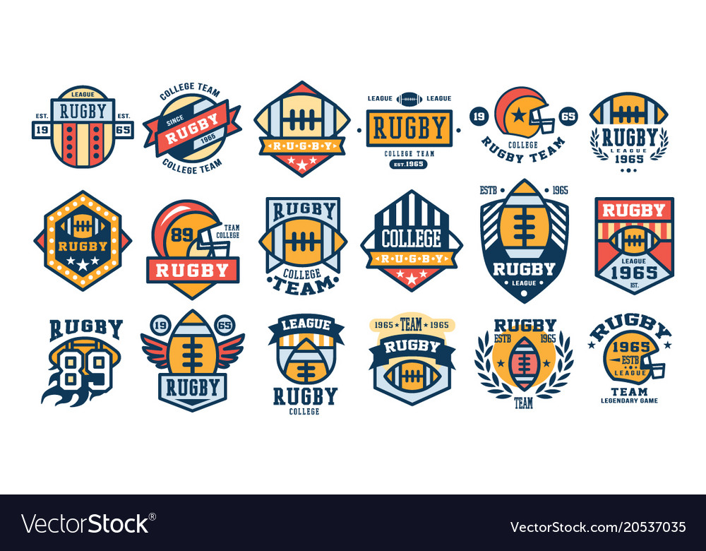 College rugby team logo design set sport retro Vector Image