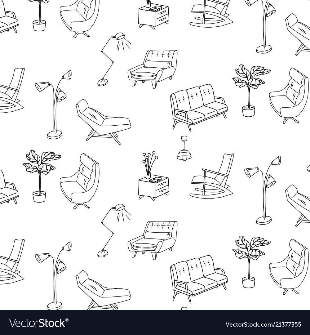 Sofa Texture Vector 60s Style Furniture Interior Sketch Pattern Cute