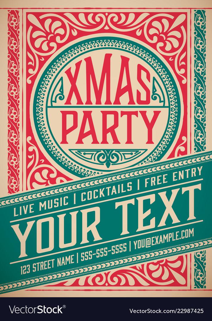 Retro christmas party invitation holidays flyer Vector Image