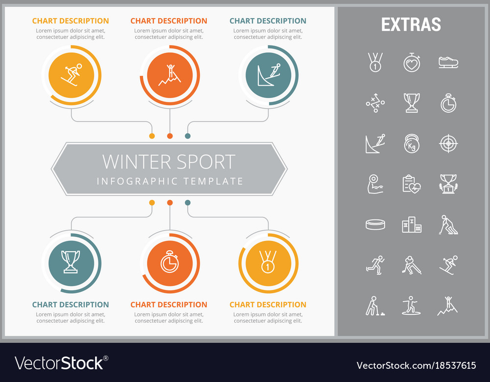 Winter sport infographic template elements icons Vector Image