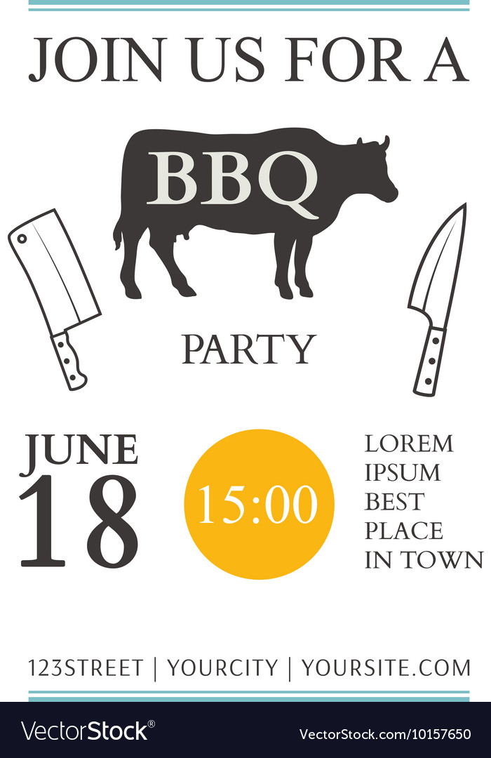 BBQ invitation template Royalty Free Vector Image