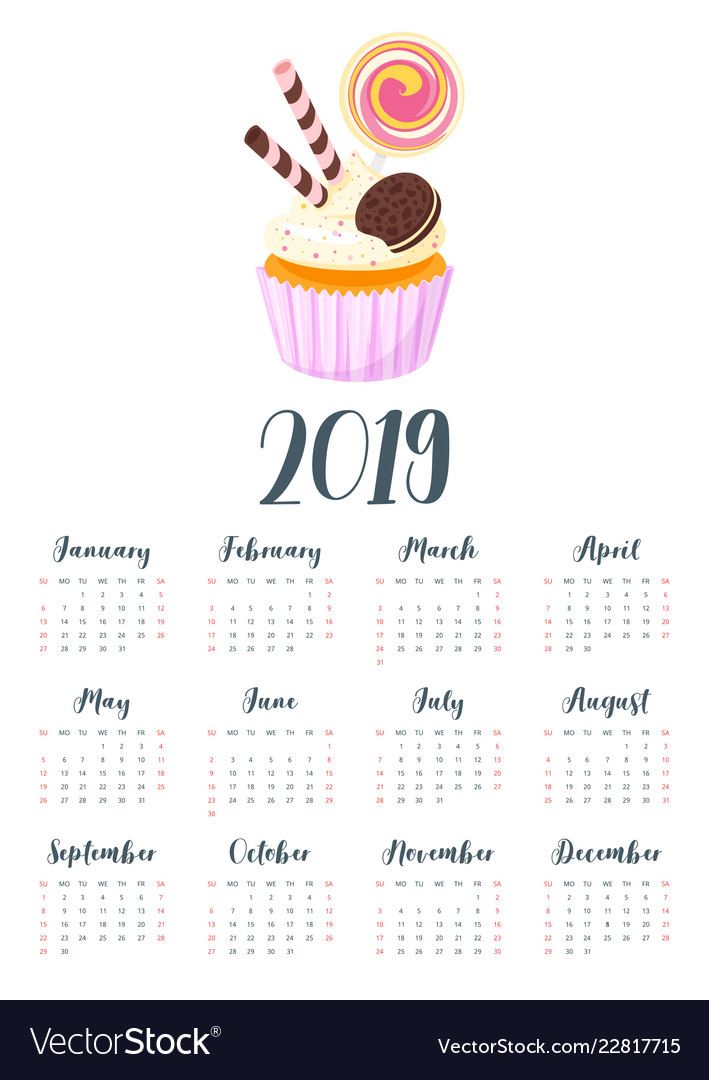 2019 year calendar with cupcake Royalty Free Vector Image