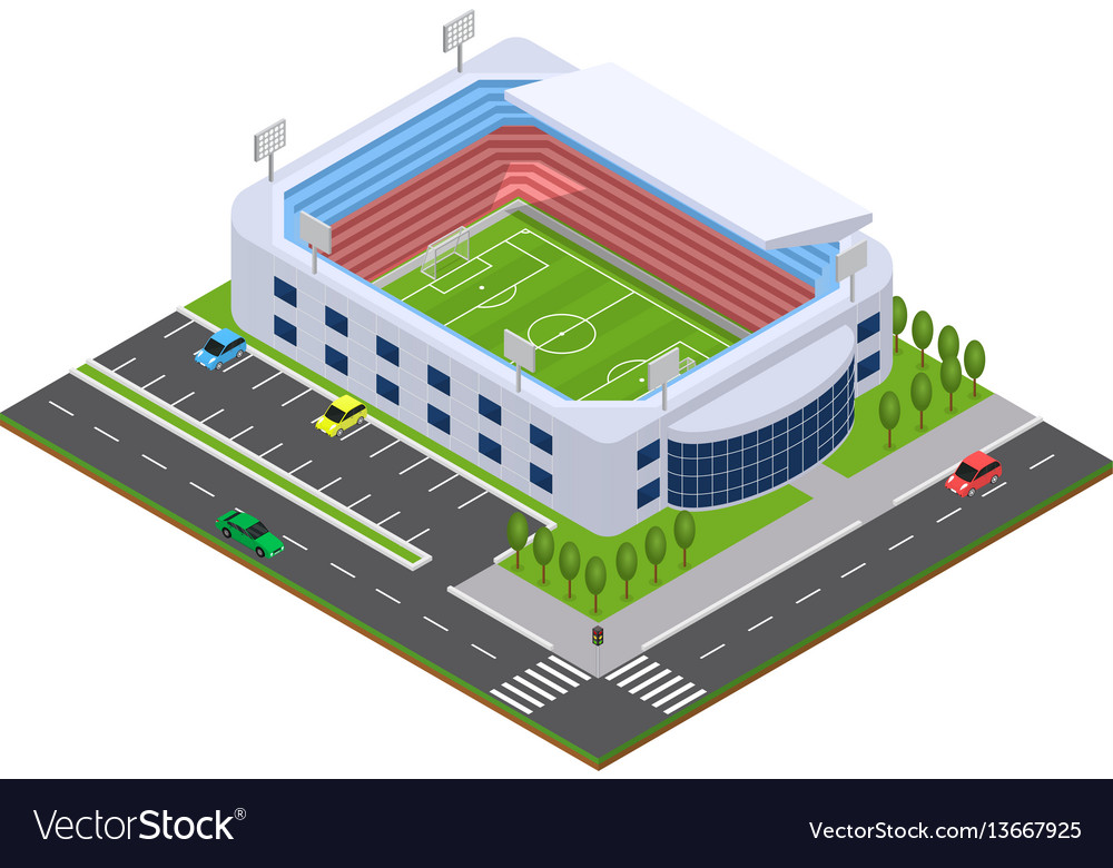 Football arena isometric view Royalty Free Vector Image - isometric view