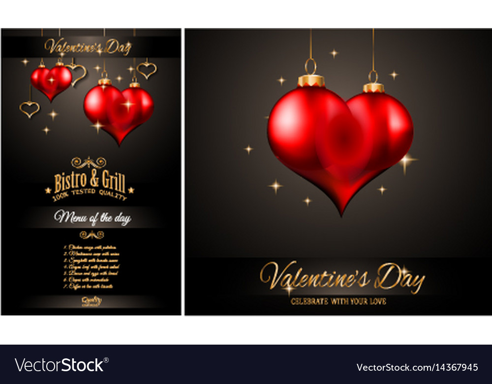 Valentines day restaurant menu template Royalty Free Vector - valentines day menu template