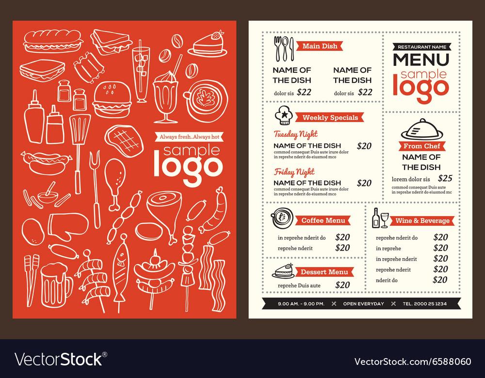 Modern Restaurant menu cover design template Vector Image