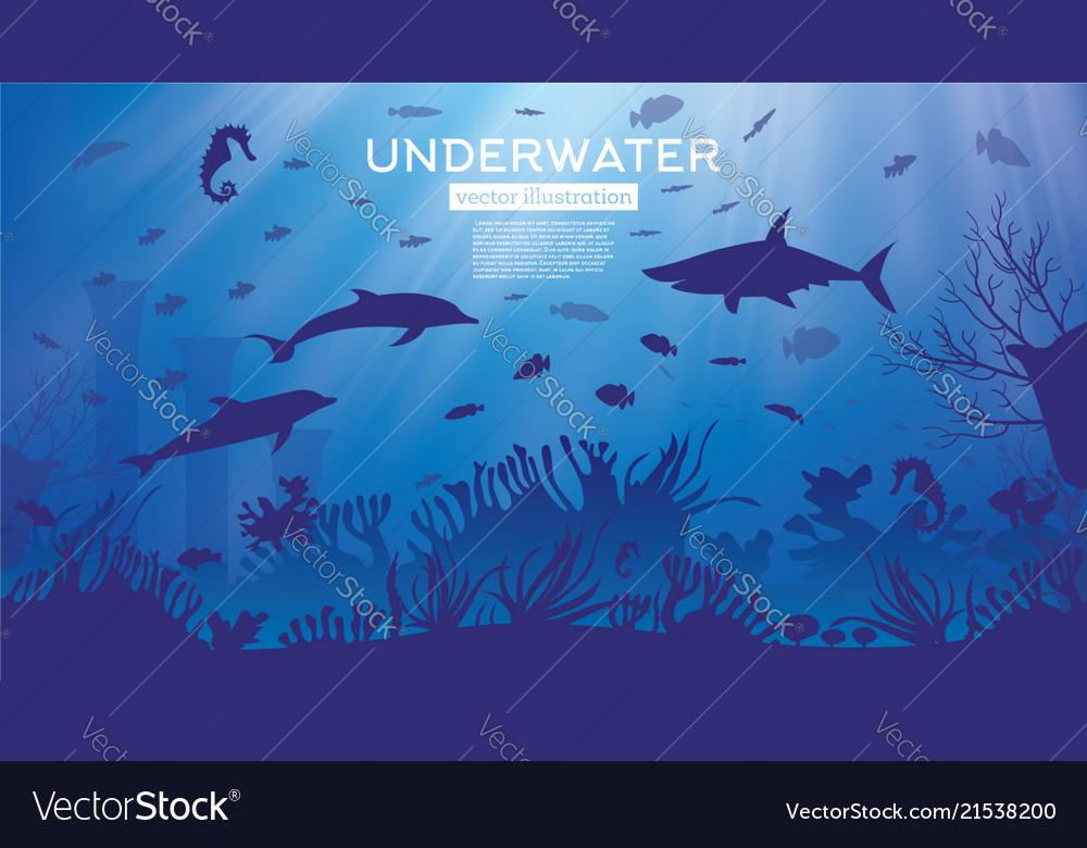 Underwater sea or ocean background with seaweed Vector Image