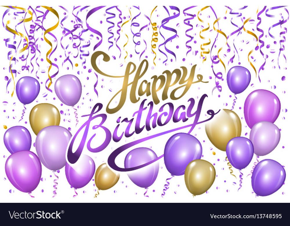 Violet gold balloons happy birthday background Vector Image - birthday backround