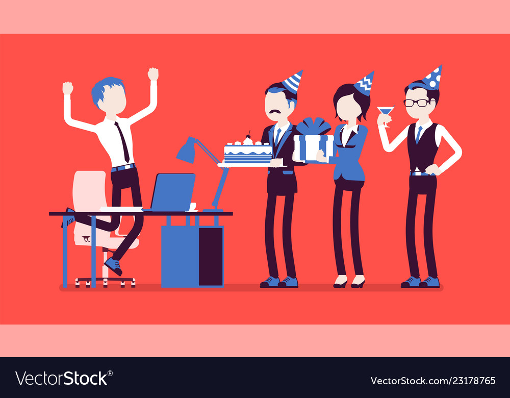 Birthday party in the office Royalty Free Vector Image