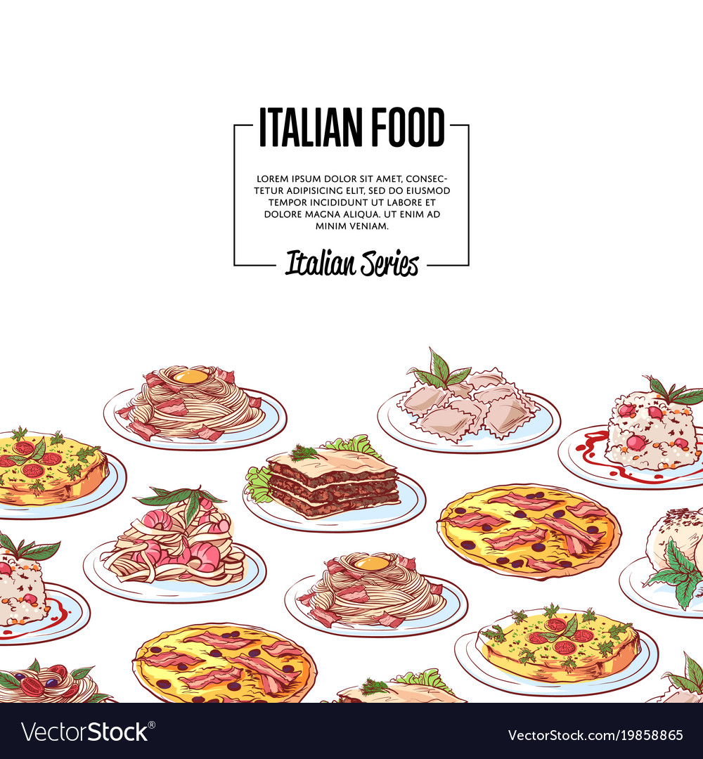 Poster Cuisine Italian Food Poster With National Cuisine Dishes