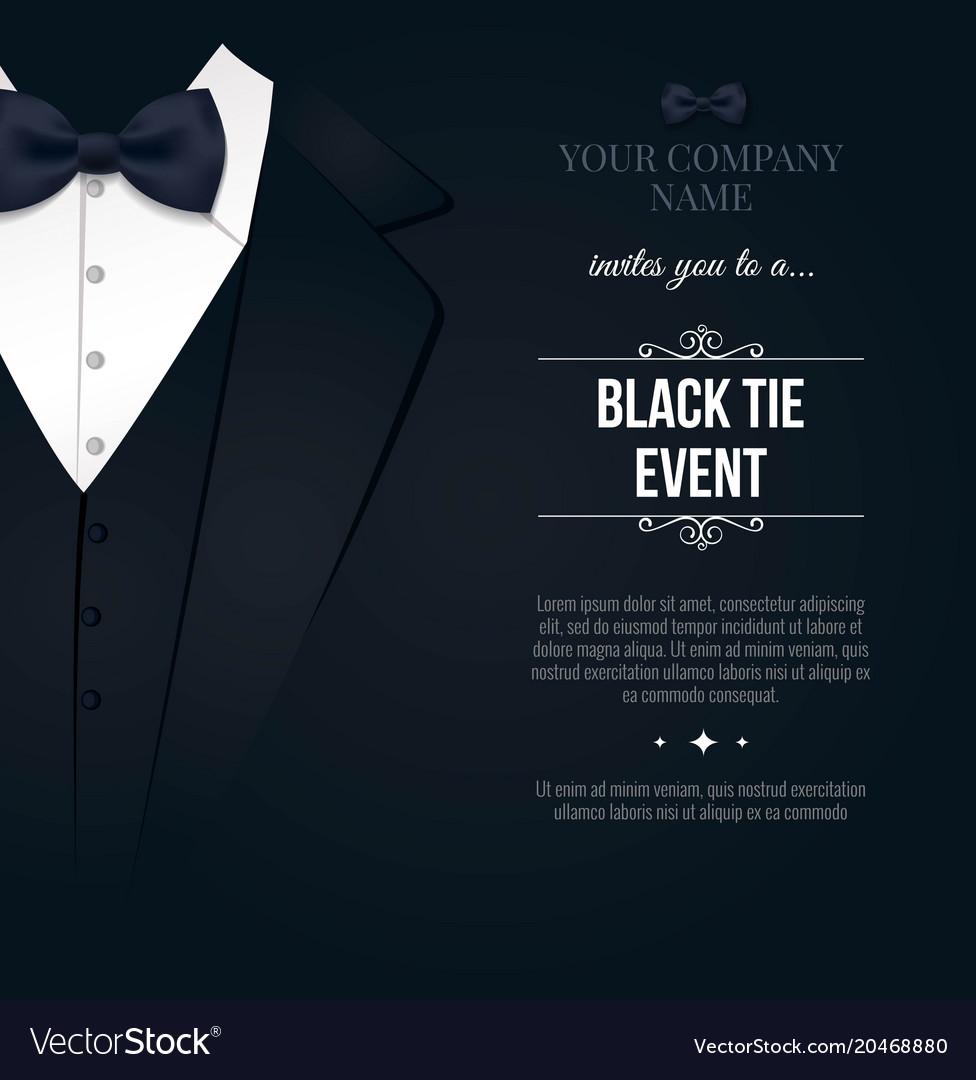 Black tie event invitation elegant black and Vector Image