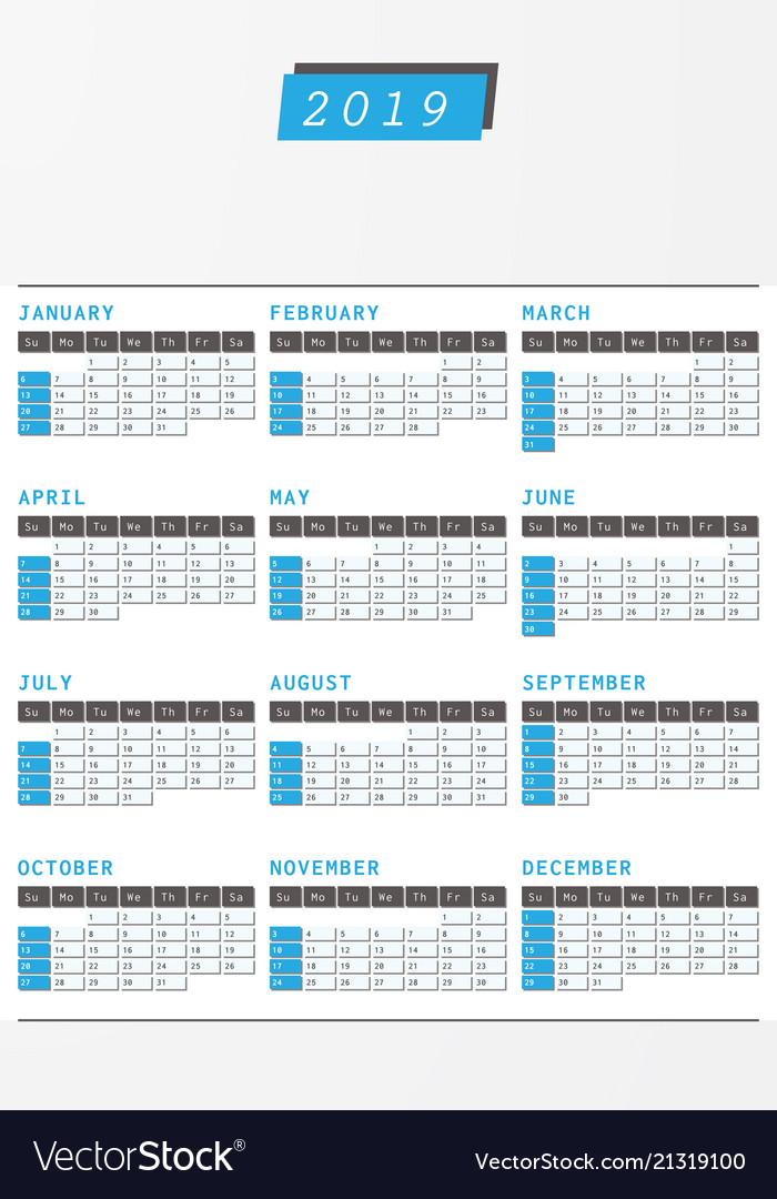Year calendar 2019 office vertical design Vector Image
