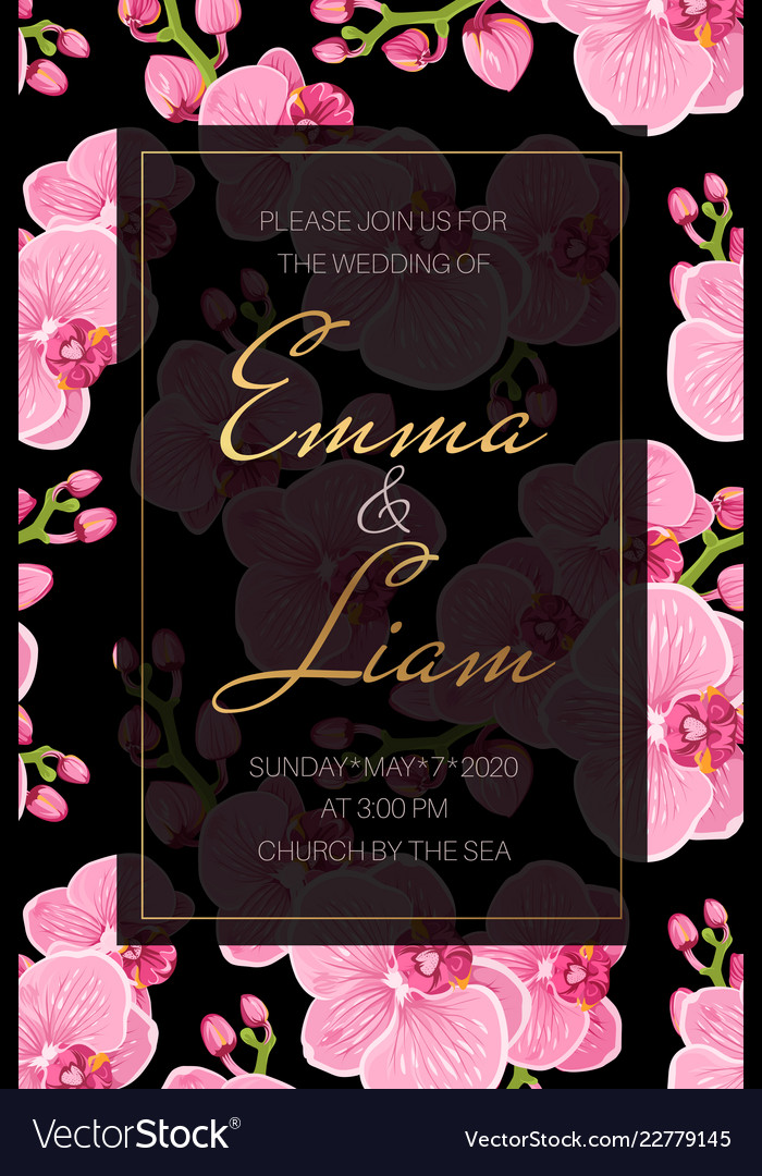 Wedding event invitation card template pink Vector Image