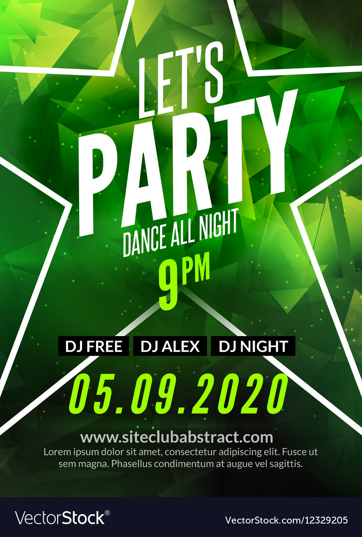 Lets party design poster Night club flyer template