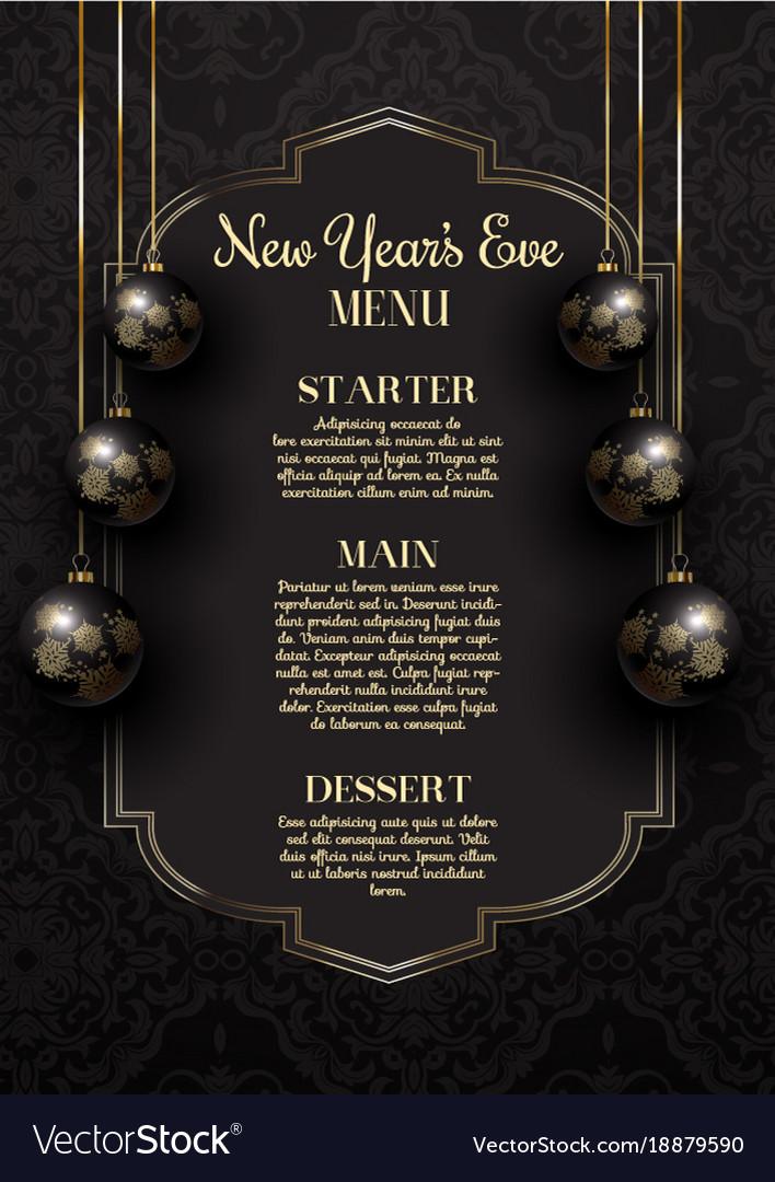 Luxurious elegant new years eve menu design Vector Image
