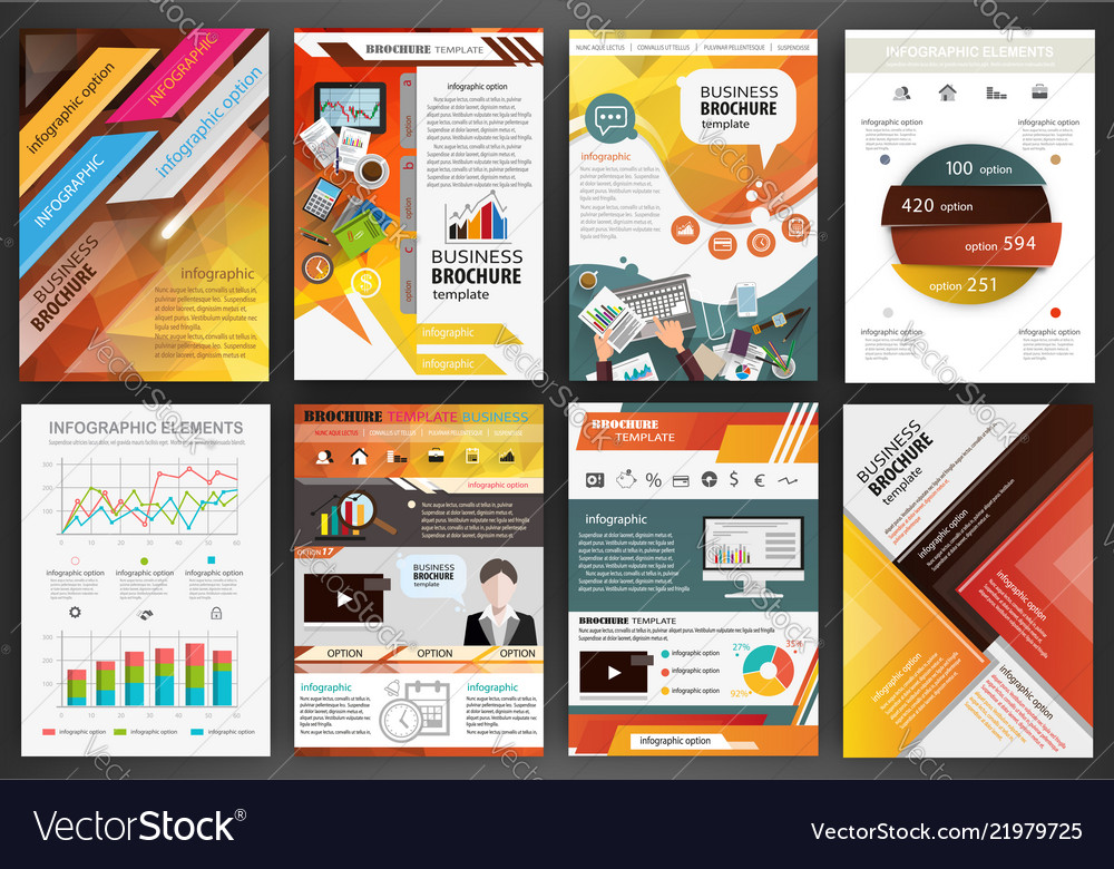 Orange business brochure templates with Royalty Free Vector