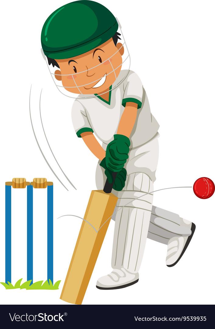 Man player playing cricket Royalty Free Vector Image