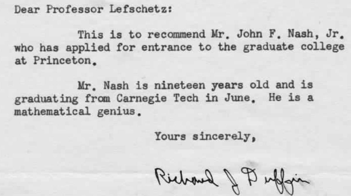 princeton recommendation letter