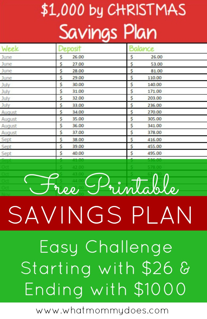 26-Week \/ Extra $1,000 by Christmas Savings Plan What Mommy Does - account plan templates