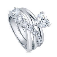 Buy BERRICLE Sterling Silver Heart Shaped CZ Solitaire ...