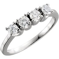 Buy 14k White Gold 4 Stone Round Anniversary Diamond Ring ...