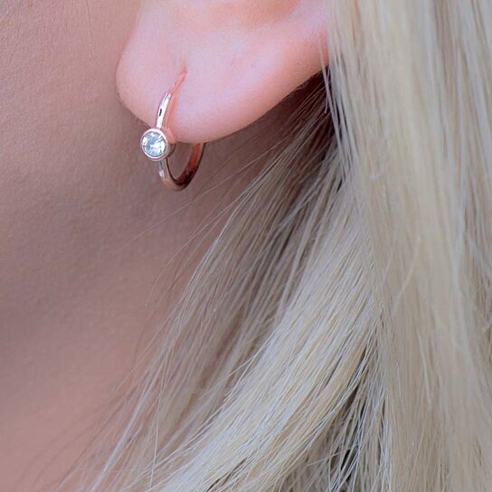 Buy Rose Gold Hoop Earrings, AAA Zirconia Small Huggie