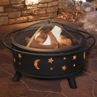 Buy Pure Garden 30 inch Round Star and Moon Fire Pit with ...