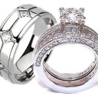 Buy His & Hers Cz Wedding Ring Set Stainless Steel & Mens ...