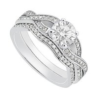 Buy 14K White Gold Cubic Zirconia Engagement Ring with ...