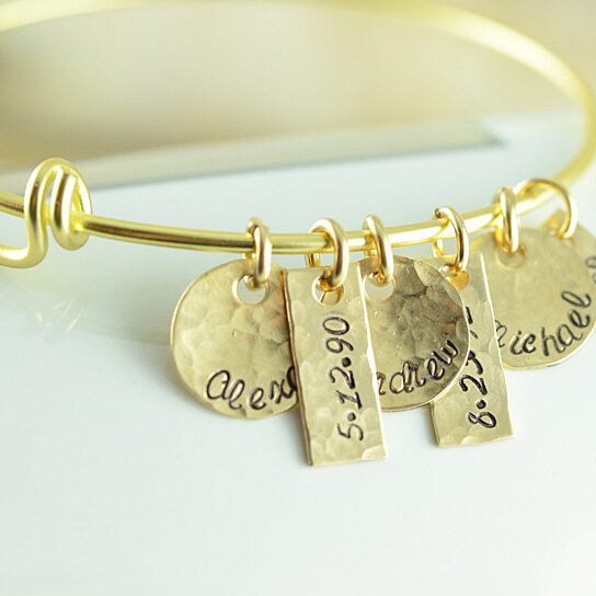 Buy Personalized Gold Name Charm Bangle Bracelet Alex And